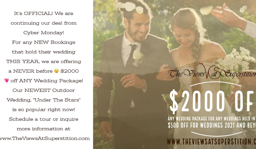 $2000 Off Wedding Packages held in 2020